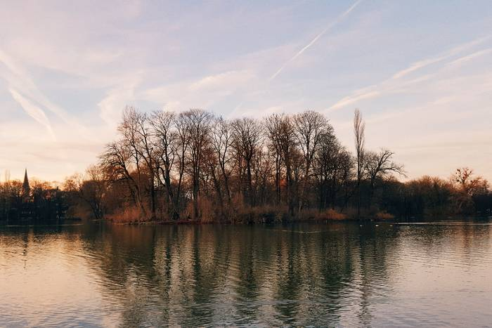 Looking out over a lake in the Englischer Garten