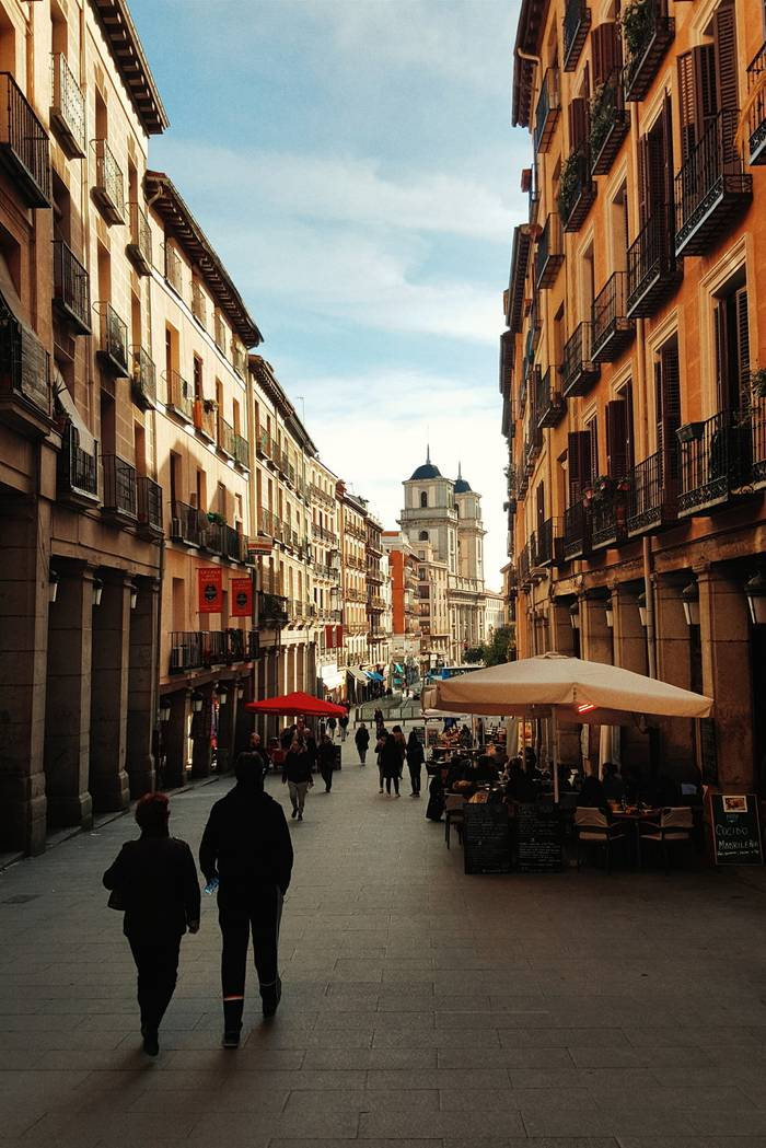 Looking down a street in Madrid